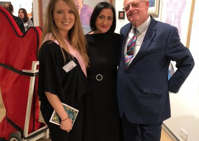 Breast Cancer Now Mall Galleries awareness evening pictured with Rhiannon Richards and John Deston